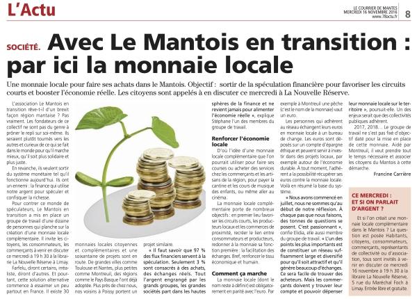 Monnaie complémentaire du Mantois, la presse en parle !